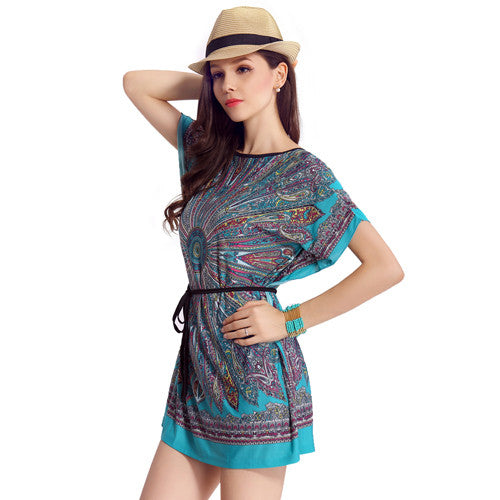 Summer Fashion Casual Bohemian Dresses Women\'s Plus Size Ice Silk Dress