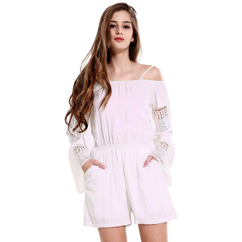 5e7adaab31 Summer Womens off Shoulder Jumpsuits 2016 Brand White Hollow Out long sleeve  Playsuit Sexy Backless Rompers