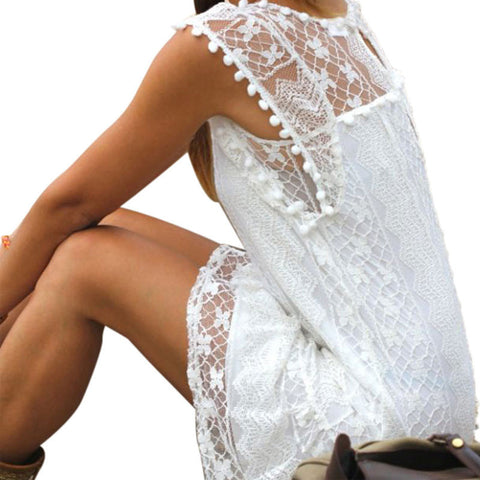 ... Summer style Women Casual Sleeveless White Lace Mini Dress Bohemian  Beach Dress Boho Loose Tassel Party ... 5570efe63