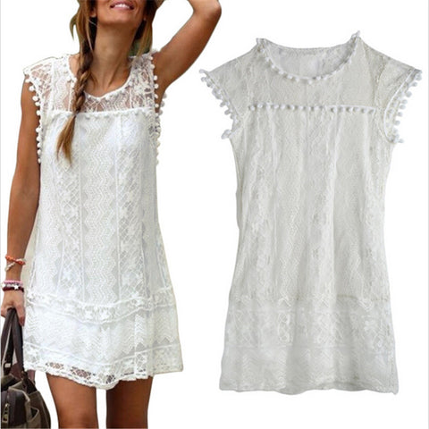 Summer style Women Casual Sleeveless White Lace Mini Dress Bohemian Beach  Dress Boho Loose Tassel Party 136ee15f3