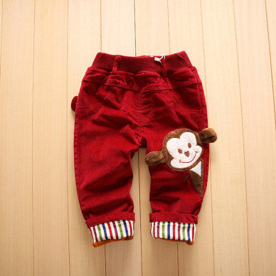 beb3dd6685716 Thick Kids Pants Monkey Infant Cotton Trousers Warm Plus Velvet Toddler  Trousers Winter Cartoon Boys Clothes New Girls Outerwear