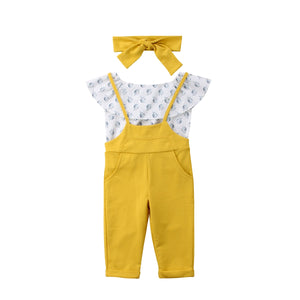 Toddler Kids Baby Girl Infant Clothes Romper Tops Floral Print Pants Outfits 2PC