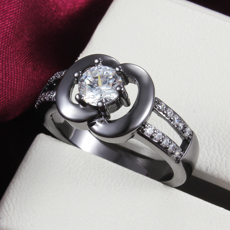 Top 18K black gold plated apple ring with zircon women fashion jewelry top  luxury brands Anel feminino Cheap hot