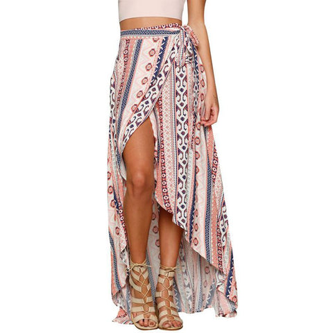 fd24a71ab6b Vintage Floral Print Long Skirts Women Summer Elegant Beach Maxi Skirt Boho  High Waist Asymmetrical Skirt
