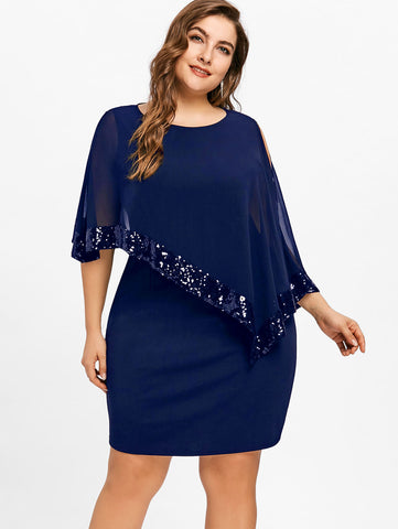 . Sequined Overlay Capelet Robe Dress (Plus Size)