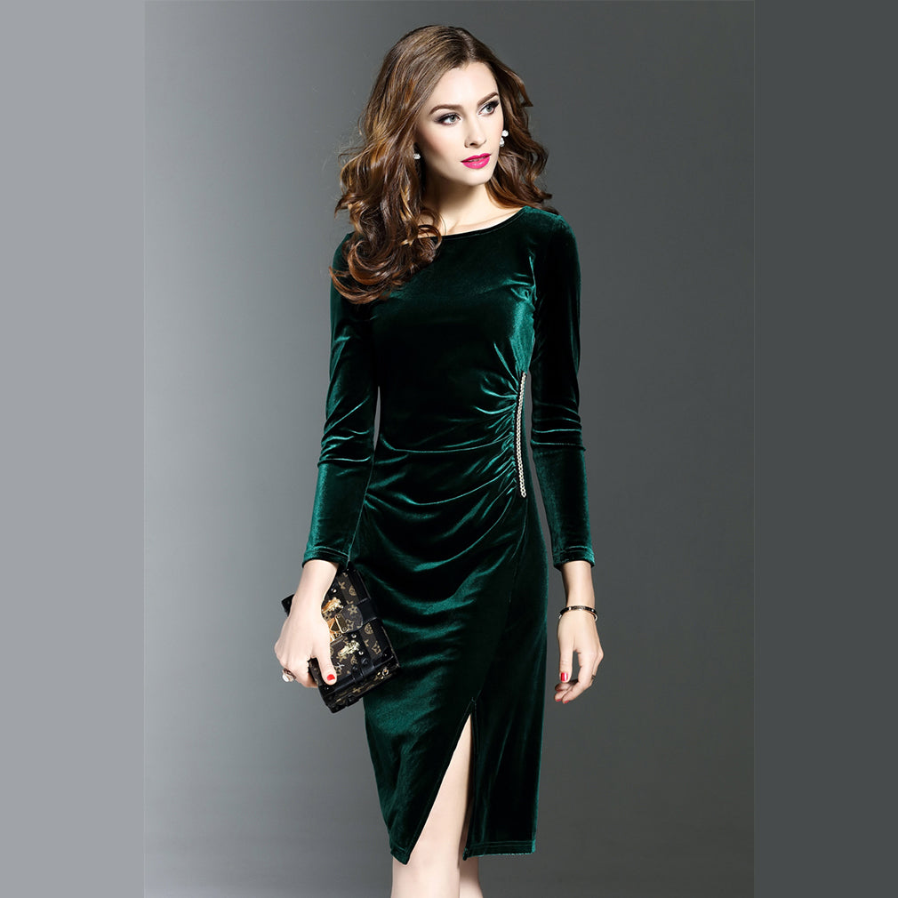 Women Green Velvet Dresses Plus Size Elegant Autumn Winter Slimming Fashion  Casual Dress Party Dress Vestidos Femininos