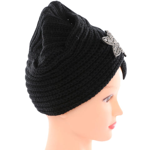 f624254f ... Women Indian Plush Cap Ladies Winter Warm Floral Turban Hat Beanies  Solid Headwrap 2017 Fashion Crochet ...