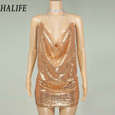 1dd2e5d54 Women Sequined Sexy Spaghetti Strap Glitter Party Dresses Latest Trends  Summer Hollow Backless Bodycon Mini Club ...