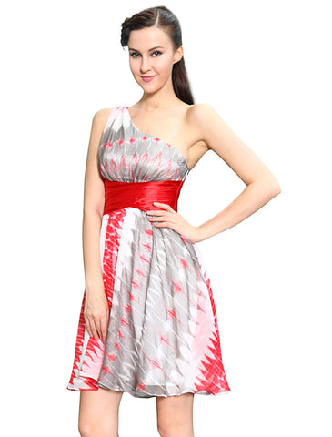 e5b3d904c6 Women Summer Print Dress Sale Alisa Pan Red One Shoulder A-Line Casual –  Honeybee Line