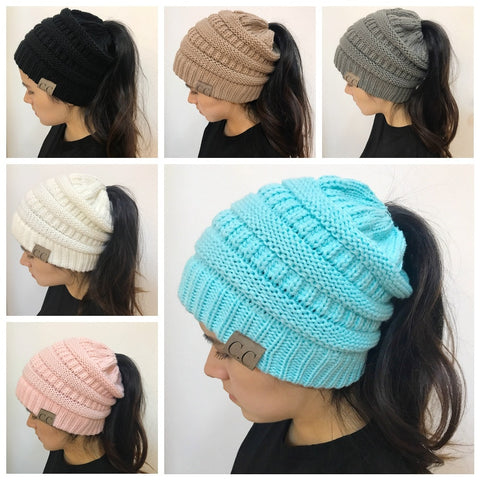 . Messy Bun Ponytail Beanie Holey Warm Hats