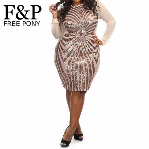 Xl Xxl Xxxl Plus Size Women Sequin Dress Long Sleeve O Neck