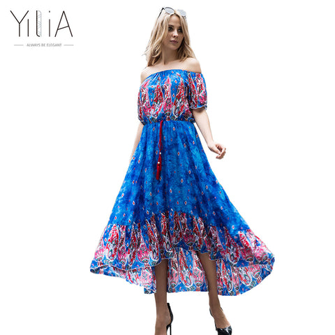 2e28c1ce6adecf ... Yilia Off Shoulder Summer Women Floral Print Sleeve Boho Dresses Femme  Vestidos Evening Party Long Beach ...