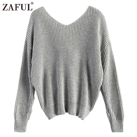 zaful 2017 new 4 colors v neck twisted back sweater women jumpers