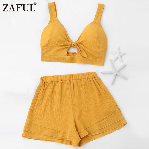 77a132c5d479f1 ZAFUL Solid Bow Knot Elastic Tank Top Shorts Women  S Set Casual Beach V  Neck ...
