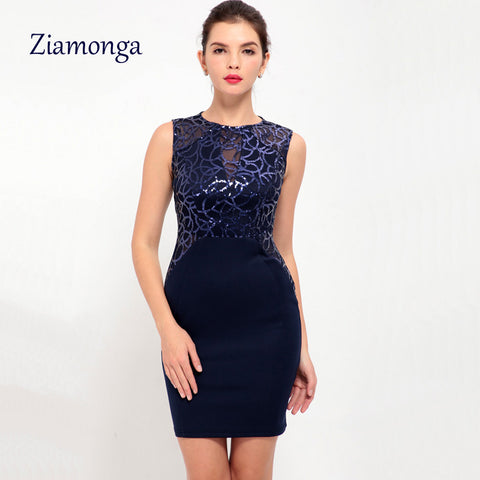769f1f33b01a1 Ziamonga Apricot Blue Red Korean Women Sleeveless Floral Sequin Bodycon  Bandage Dress Sexy Elegant Short Cocktail