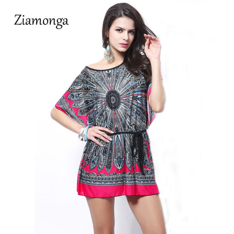Ziamonga Boho Style Summer Women Dress Sexy Sundresses O Neck Ethnic