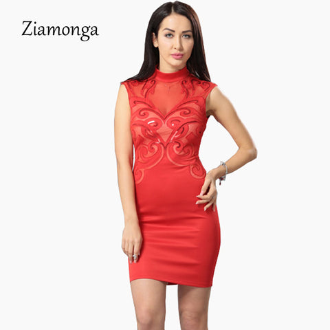Ziamonga Plus Size S Xxl Mesh Patchwork Bodycon Dress Sexy Clubwear