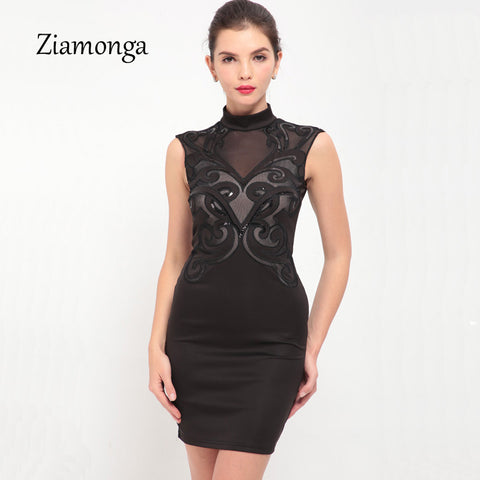 5faa85aeaa Ziamonga Plus Size S-XXL Mesh Patchwork Bodycon Dress Sexy Clubwear Black  Sequin Dresses Party Vintage Printed Bandage Dress
