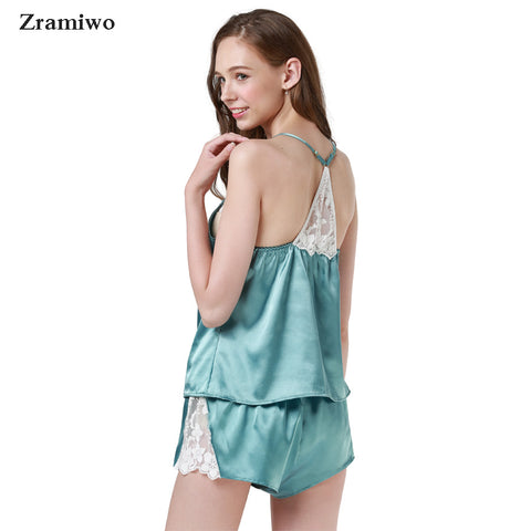 d9a67276d ... Zramiwo Womens Sexy Sleepwear Set Satin Pajama Pants Set Embroidery  Nightgown Lace Camisole Short Summer ...