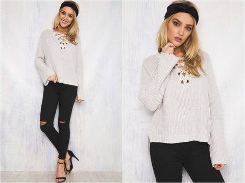 ... knitted long-sleeved lace up v neck striped split pullover sweater  women autumn winter christmas ... ad27a0ef3