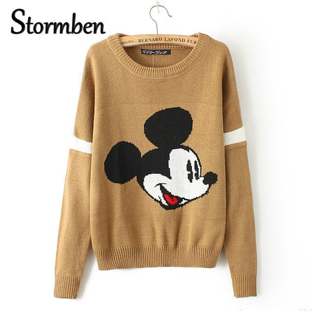 marque célèbre réflexions sur marques reconnues mickey pullover sweater women Christmas knitted cartoon print Loose Long  Sleeve one size Sweaters Pull Femme SBK2-11