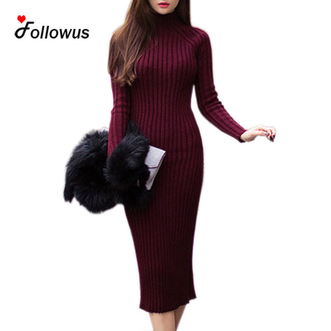 1a4383b0aa Autumn Winter Long Knitted Sweater Dresses Women Mid-calf 2016 Sheath  Excellent Stretchy Half Turtleneck