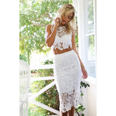 0b25e29ff82 New High quality Bodycon Two Piece Dress Sexy White Crochet Lace Hollow Out  Pencil Dress Summer ...