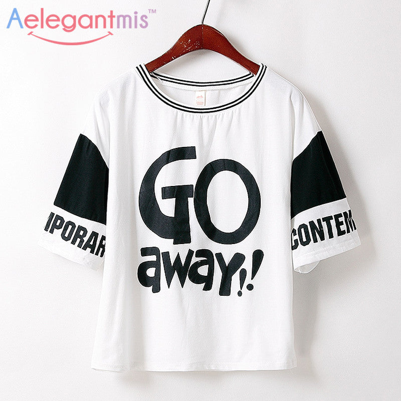 Aelegantmis Summer Casual T-Shirt Women Fashion Tee Tops For Ladies