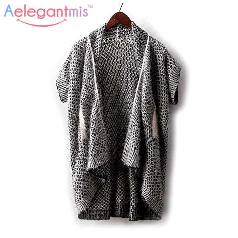 Aelegantmis Autumn Gray Casual Knitted Cardigan Women Short Sleeve Fall Sweater Female