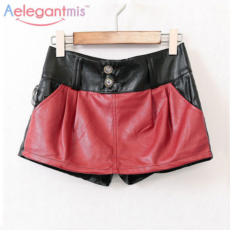 Aelegantmis Fashion Red PU Leather Shorts Women