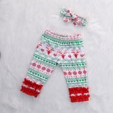 2Pcs/Set XMAS Toddler Infant Newborn Baby Girls Deer Ruffles Pants+Headband Outfit Set