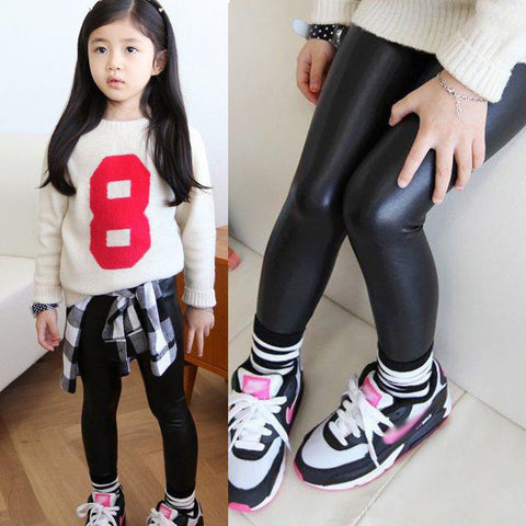 Hot Baby Girls Kids Stretchy Faux Leather Skinny Black Pants Leggings Trousers