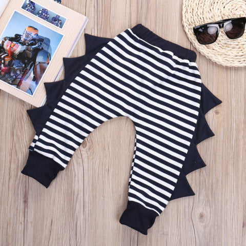 Baby Boys Girls Striped dinosaurs Harem Pants Trousers Kids Toddler Bottoms Slacks Sweatpants 0-4Y