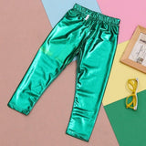 Hot Sell Baby Kids Girl Meryl Shiny Solid Skinny Leggings Pants Trousers 1~9Y UK