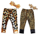 Kid Baby Boys Girls Pants Bottoms Kiss Lips and Leopard Pants For Toddler Baby Girl Boy With Hair Band 2pcs Set