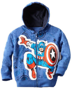 Spider-man Captain America Toddler Kid Baby Boy  thick Hooded  Zipper Jacket Coat Tops Hoodie For Winter