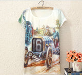 Sea wind scenery print Tops T-shirt