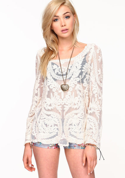 Semi Sheer Women Long Sleeve Lace Shirts Blouses 2015 Spring Autumn Embroidery Floral Crochet Tops Blouse Hallow out Lace Blusas