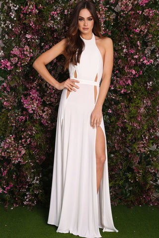 Newest Prom Backless Dresses With Slit Whiteblack Sexy Cutout Open
