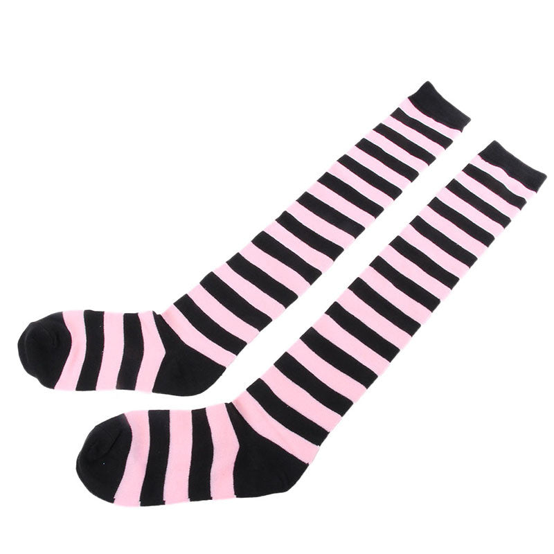 1 Pair Women Girls Above Knee Stocking Thigh High Long Striped Socks Multi Colors