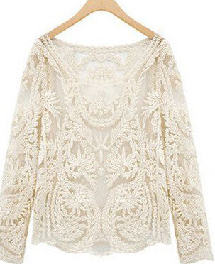 Semi Sheer Lace Shirts Embroidery Floral Lace Crochet Tops