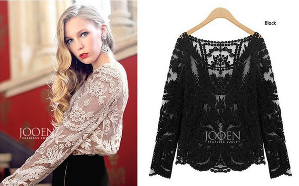 Embroidery Floral Flower Lace Tops