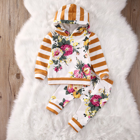 3Month -7years kid autumn New baby boy clothes Kids Baby Girls Long Sleeve Hooded Sweatshirt Tops Floral Pants 2pcs Outfits Set