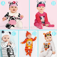 (animal baby boy clothes) romper with hat