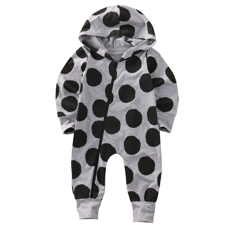 Winter Warm Long Sleeve Dot Zipper Hooded Romper Outfit