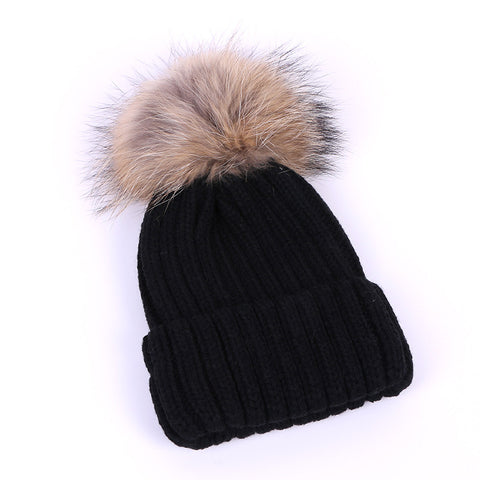 Winter Women raccoon pompom Knitted Hat Girls Pompom Ear Protect Casua –  Honeybee Line 5e4e40fc9b2
