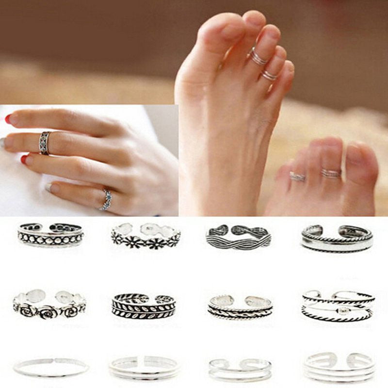 Simple Retro Carved Flower Adjustable Toe/Foot Ring 12pcs Wholesale