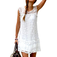 (White Lace Floral Sleeveless Casual Short Dress)