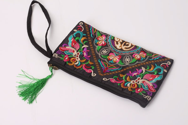 Butterfly Flower  Embroidered Lady clutch tassel