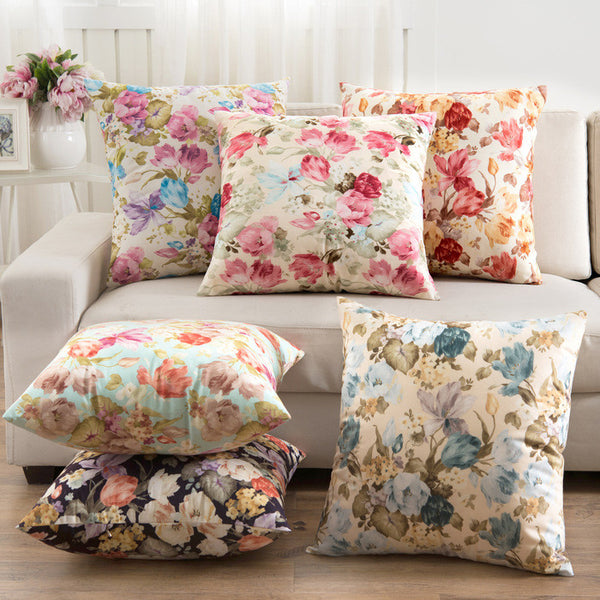 Cushion Without Inner Pastoral Flower  Linern Cotton Square  Home Seat Decorative Pillows Almofada fundas de cojines azul